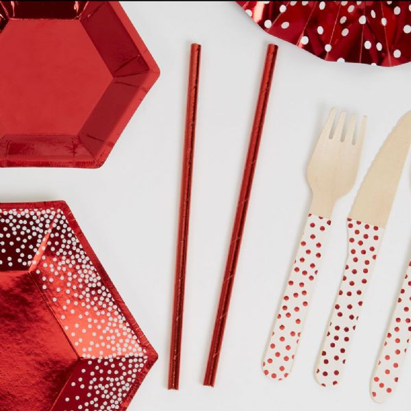 Merry Christmas Red & White Red Foil Straws (25)